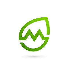 letter m eco leaves logo icon design template vector image