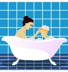 Mother washes with child vector image vector image