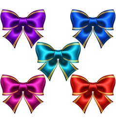 Set of festive bows with golden edging vector image vector image