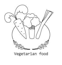 Vegetarian food mono line logo with vegetable vector image vector image