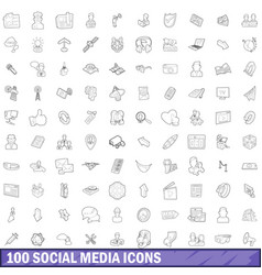 100 social media icons set outline style vector