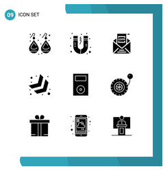 9 universal solid glyph signs symbols ipod vector