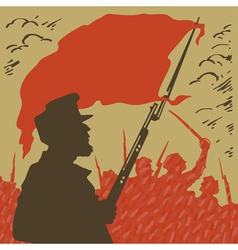 armed man with a red flag revolution vector image