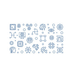 artificial intelligence outline horizontal vector image