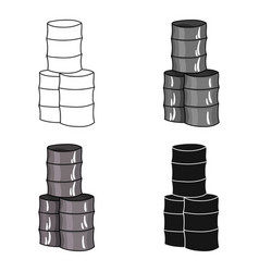 Barricade from barrels icon in cartoon style vector