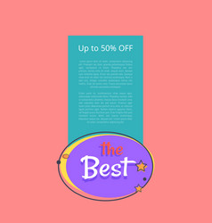 best night sale banner with moon stars up to 50 vector image