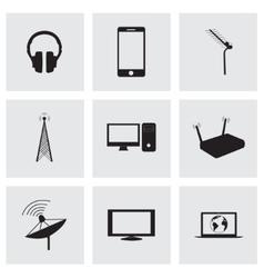 black communication icons set vector image