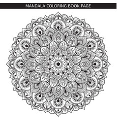 black mandala on white background vector image