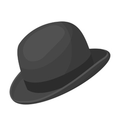 Bowler hat icon in monochrome style isolated on vector