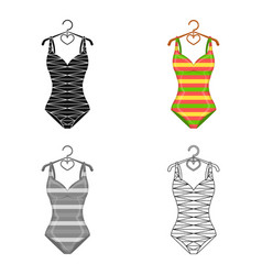 Bright striped swimsuit in the colors of the vector