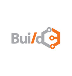 build technology logo design template vector image