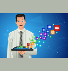 businessman showing multimedia icons from his vector image