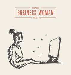 businesswoman laptop computer a concept a vector image