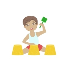 By Playing With Sand Pies On The Beach vector