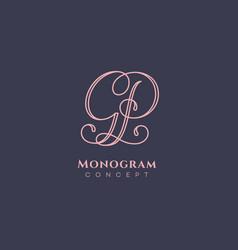 calligraphic monogram gp vector image