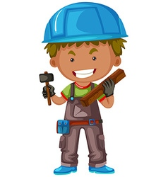 Carpenter with hammer and wood vector