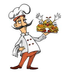 Cartoon image of chef with burgers vector
