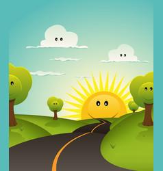 Cartoon welcome spring or summer landscape vector