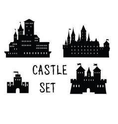 castle set ancient building silhouette vector image