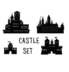 Castle set ancient castle building silhouette vector