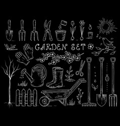 Chalk spring garden set vector