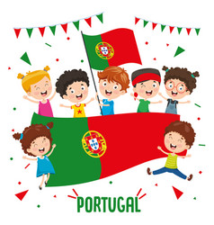 children holding portugal flag vector image