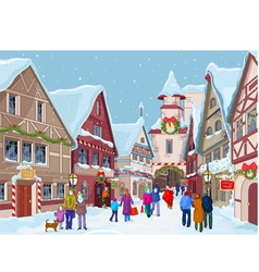 Christmas shopping street vector
