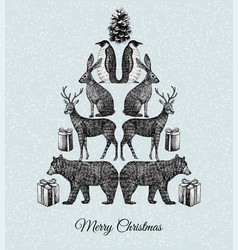 christmas tree hand drawn animal mirror print vector image