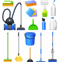 Cleaning Equipment Kit Flat Icons Set vector image