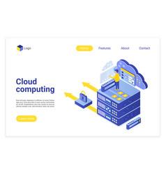 Cloud computing isometric landing page vector