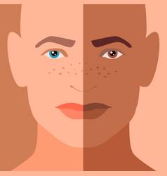 Combined man portrait with symmetric half faces vector