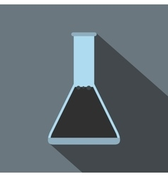 Conical flask test tube with oil flat icon vector image