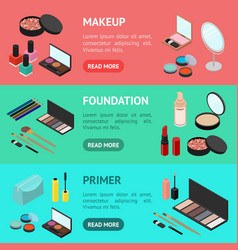 cosmetic products banner horizontal set isometric vector image