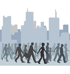 Crowd people walking city skyline vector