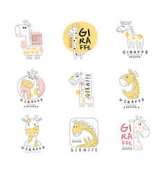 Cute little giraffe logo template original design vector