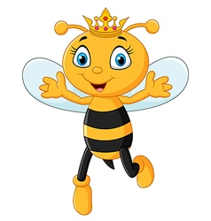 Cute queen bee hands up isolated vector image
