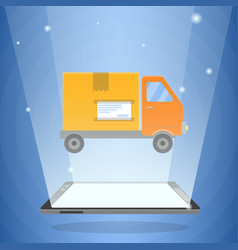 digital tablet computer and delivery truck vector image
