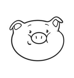 Emoji pig for coloring book smile moticon icon vector