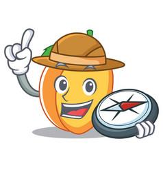 Explorer apricot mascot cartoon style vector