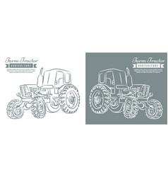 farm tractor with sketch style line art design vector image