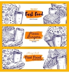 Fast food snacks and drinks sketch banners set vector image