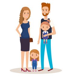 father and mother with daughters vector image