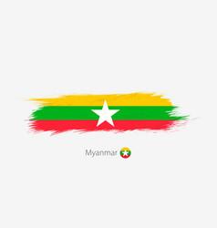 Flag myanmar grunge abstract brush stroke on vector