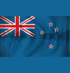 Flag of new zealand with auckland skyline vector