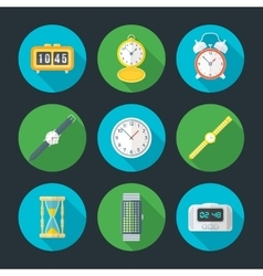 flat design clock icons set vector image