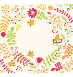 floral background with birds vector image
