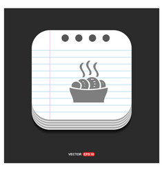 Food icons gray icon on notepad style template vector