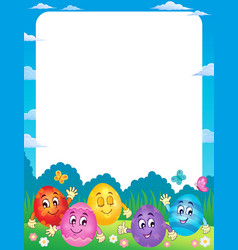 Frame with happy easter eggs 1 vector