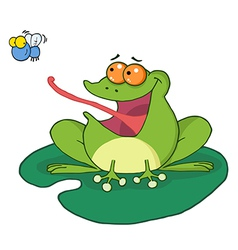 Frog And Fly Cartoon Character vector image