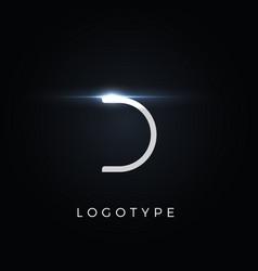 futurism style letter d minimalist type vector image